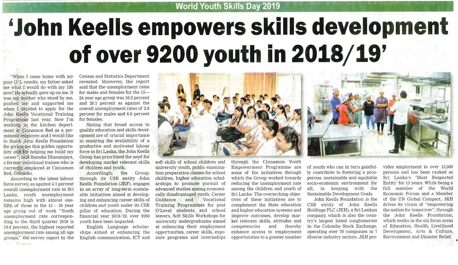 John Keells empowers skills development of over 9200 youth in 2018/2019